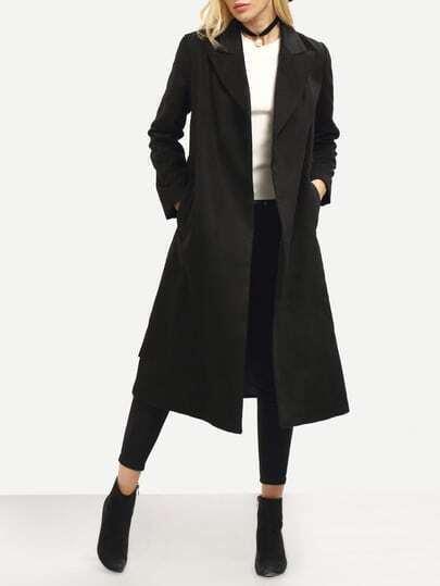 Black Shawl Drawstring Waist Long Coat