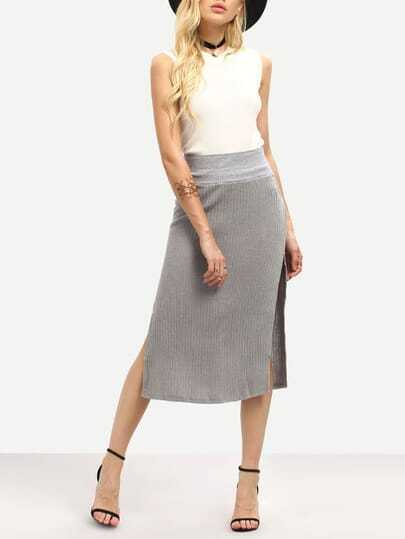 Grey High Waist Split Skirt