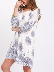 White Print Vintage Scoop Neck Shift Dress
