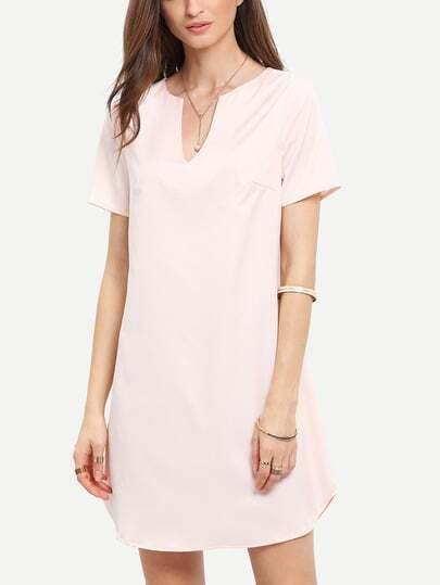 Pink V Neck Split Side Shift Dress
