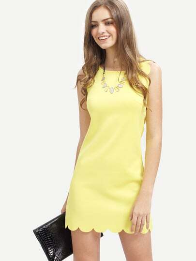 Crew Neck Scallapped Hem Dress