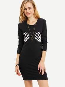 Black Long Sleeve Skeleton Print Dress