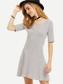 Black Round Neck Striped Casual Dress