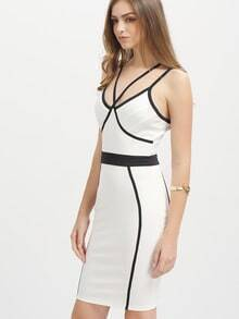 White Dual Spaghetti Strap Bodycon Bandage Dress