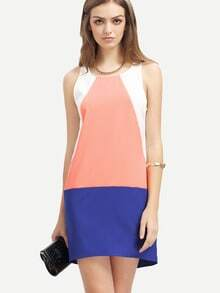 Blue White Sleveless Auburn Color Block Dress