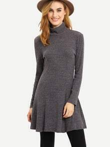 Grey High Neck Plain Sweater Dress