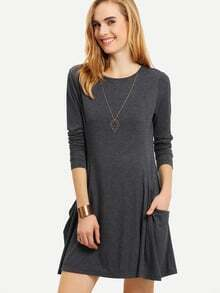 Grey Long Sleeve Pockets Casual Dress