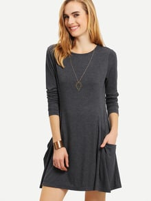 Long Sleeve Pockets Casual Dress