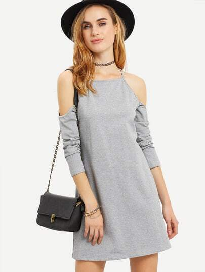 Grey Spaghetti Strap Cold Shoulder Dress