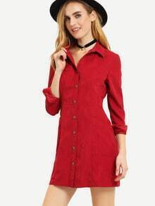 Burgundy Long Sleeve Lapel Pockets Dress