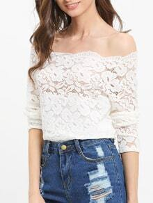 White Lace Embroidered Off The Shoulder Blouse