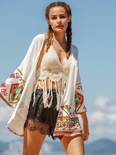 White Contrast Folk Print Hem Kimono