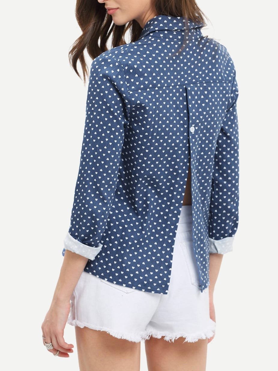 Lapel Hearts Print Split Back Blouse
