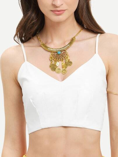 White Spaghetti Strap Faux Leather Crop Cami Top