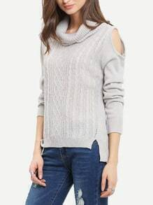 Grey Long Sleeve Cold Shoulder Sweater