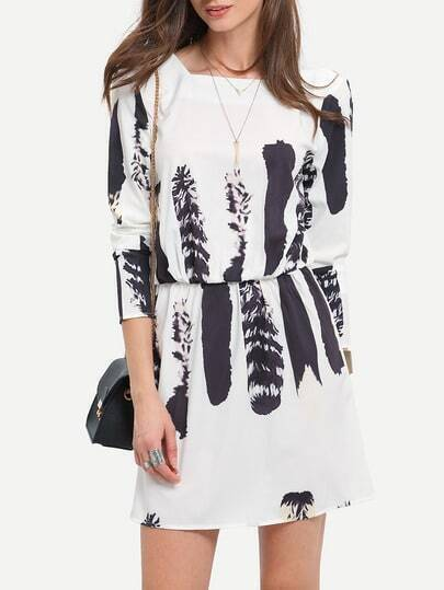 White Long Sleeve V Back Print Dress