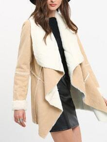 Apricot Long Sleeve Asymmetric Coat