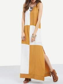 Beige Color Block Side Slit Maxi Dress