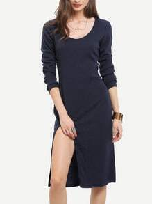 Navy Long Sleeve Split Dress