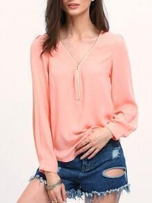 Pink V Neck Long Sleeve Zipper Top