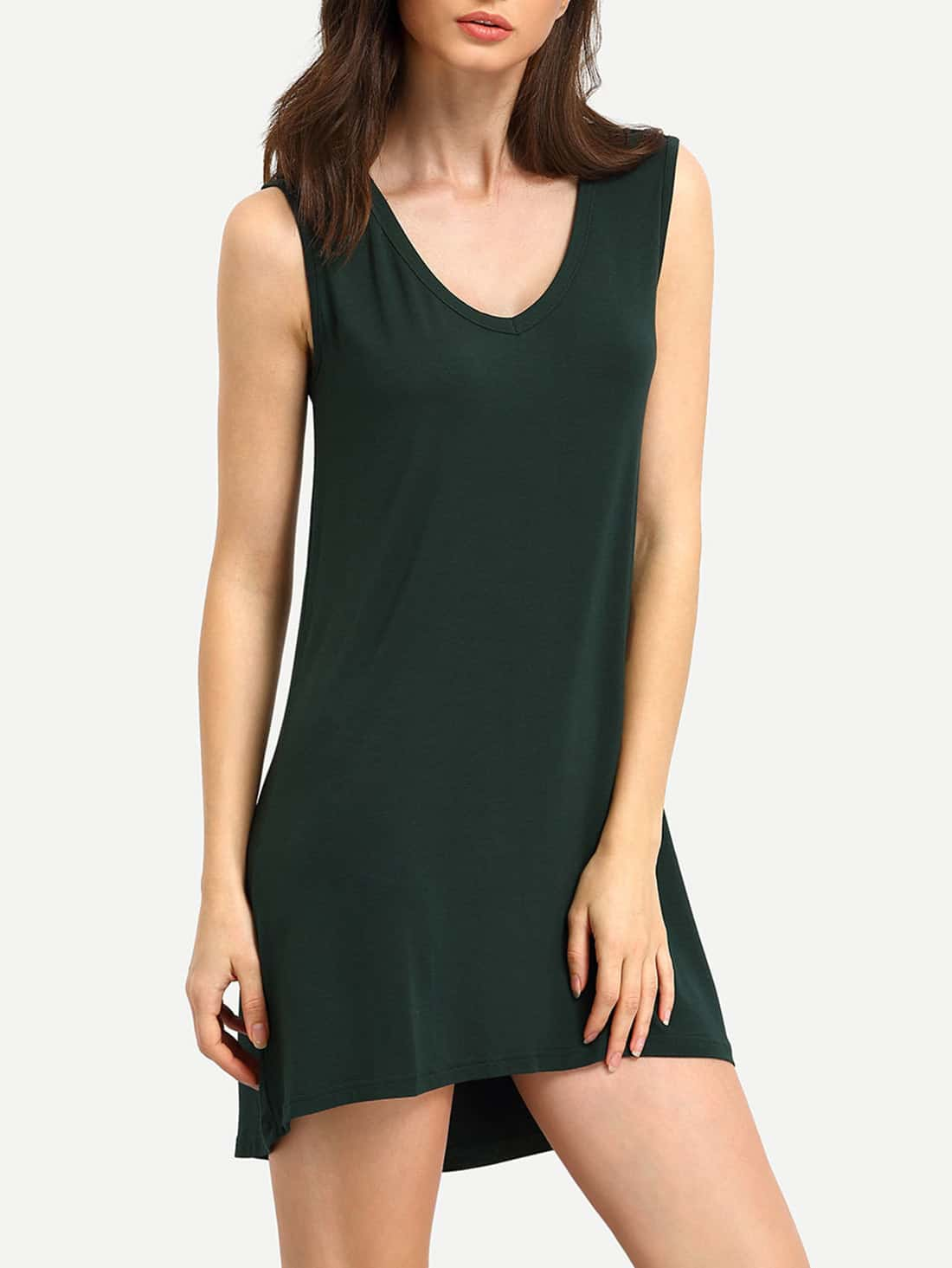 Green Minis Sleeveless Vest Casual Dress dress150825505