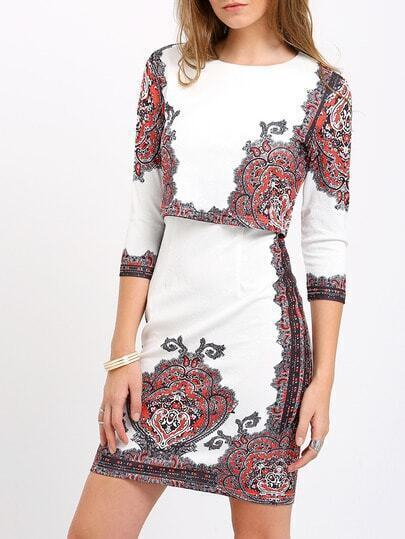 White Round Neck Vintage Print Top With Sheath Skirt
