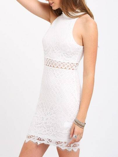 White Mock Neck Keyhole Lace Bodycon Dress