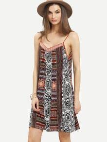 Multicolor Vintage Print Tie Back Spaghetti Strap Dress