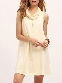 Beige Cowl Neck Sleeveless Shift Dress