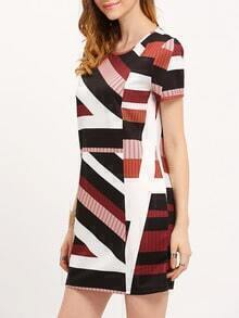 Crew Neck Patchwork Shift Dress