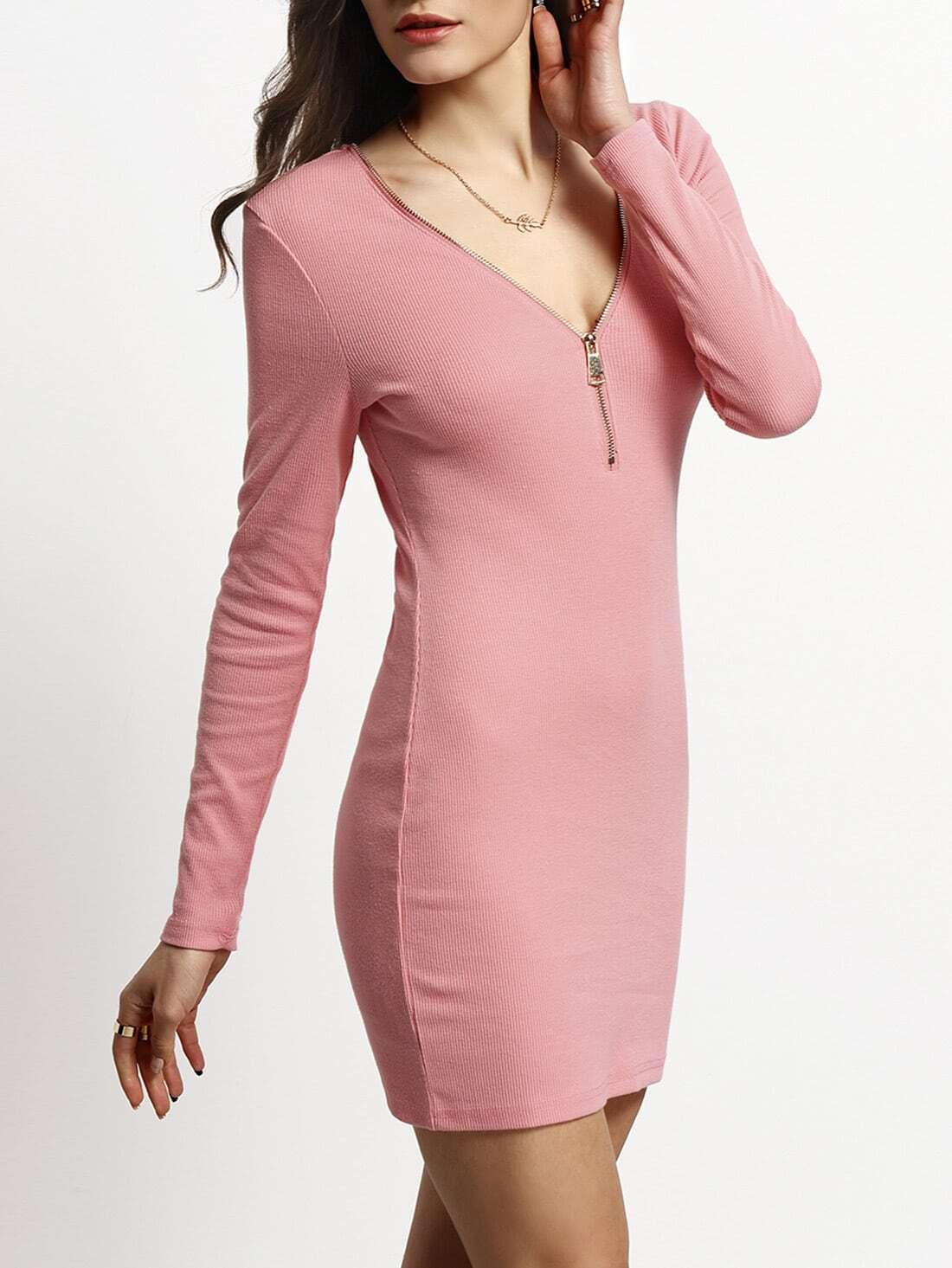 Pink Deep V Zipper Neck Bodycon Dress dress151214715