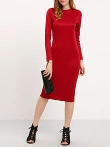 Red Long Sleeve Pencil Dress