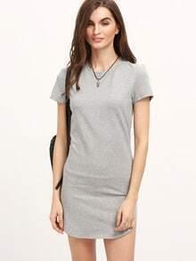 Grey Minis Short Sleeve Split Dress