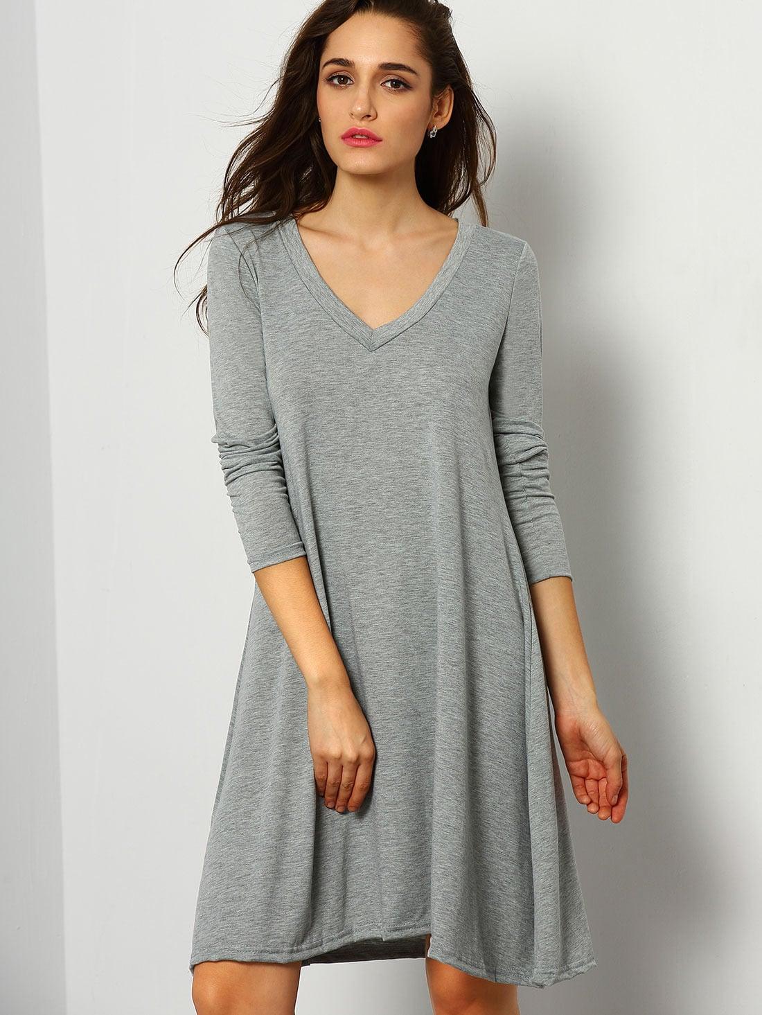 Grey V Neck Long Sleeve Loose Dress -SheIn(Sheinside)