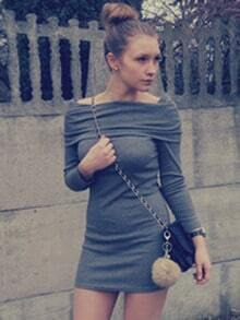 Grey Off the Shoulder Bodycon Dress