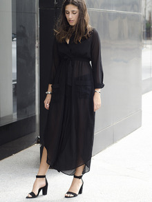Black Deep V Neck Self-Tie Pockets Chiffon Dress Slutty Longsleeve Kafta