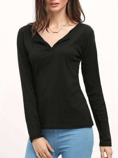 Black Long Sleeve Casual T-shirt