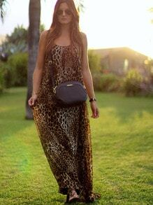 Leopard Spaghetti Strap Backless Beachwear Maxi Dress