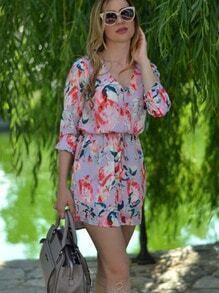 Multicolour Long Sleeve Floral Print Dress