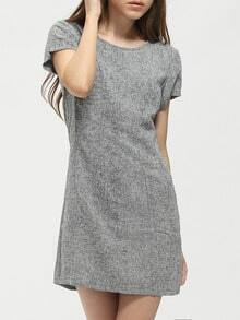Grey Short Sleeve Zipper Back Sheath Dress