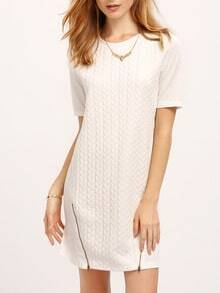 Beige Crew Neck Zipper Shift Dress