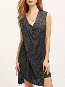 Black Sleeveless Draped Front Tulip Dress