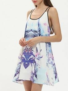 Multicolor Spaghetti Strap Tie-dyed Casual Dress