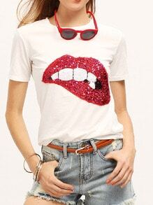 With Sequined Sparkely Glittery Cozy Costume Lip Print T-shirt