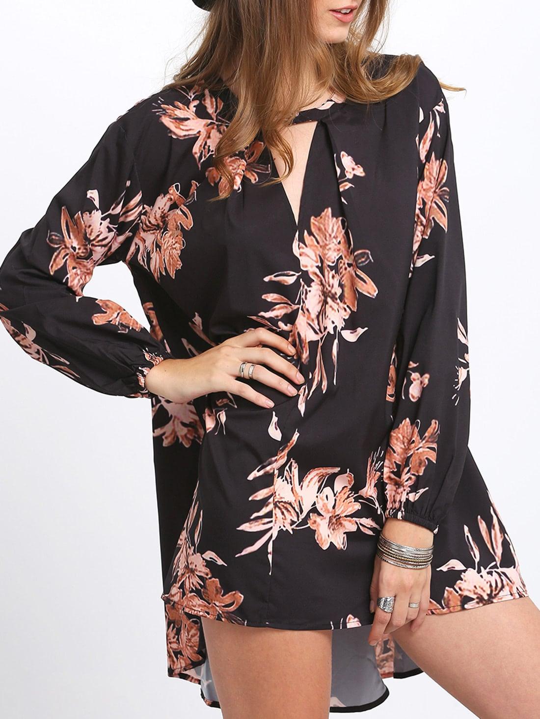 Black Cut Out Front Floral DressBlack Cut Out Front Floral Dress<br><br>color: Multicolor<br>size: M,S,XS
