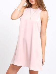 Pink Sleeveless Keyhole Back Shift Dress
