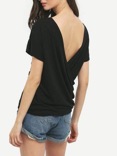 Black Deep V Neck Backless Slim T-Shirt