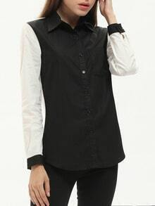 Black Contrast Raglan Sleeve Pockets Blouse