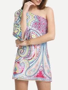 One-Shoulder Bell Sleeve Paisley Print Dress
