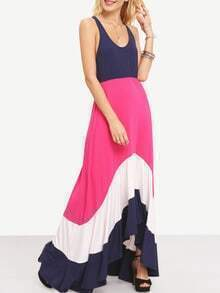 Rose Red Spaghetti Strap Color Block Maxi Dress